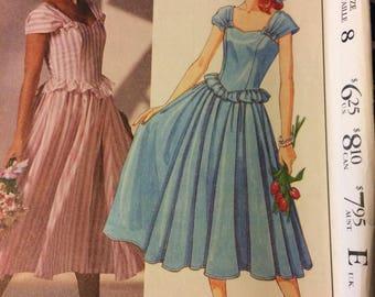 UNCUT Vintage Laura Ashley 80's Sewing Pattern McCall's 3557 Misses' Dress Bust 31 Size 8 Uncut Complete