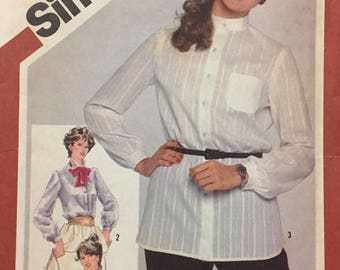 80's Misses' Button Shirt Simplicity 5243 Sewing Pattern  size 12 Bust 34 inches  Uncut Complete Sewing Pattern
