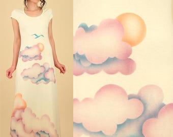 ViNtAgE 70's Dream Dress AmAzInG Airbrushed Clouds Maxi Dress  Cotton // Summer Bird Bohemian TShirt Dress M L