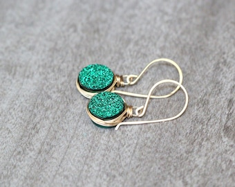 Druzy Dangle Earrings , Gold Rose Gold or Sterling Silver & Emerald Green Druzy Drop Earrings , Christmas Gift Ideas  -  Emerald City