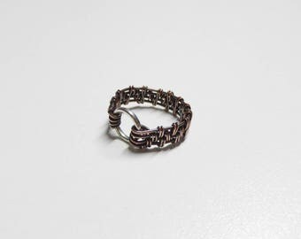 mens copper rings,mens rings,boho copper ring,mans woven chain ring,wire wrapped ring,mens jewelry,boys rings,copper ring,boho womens rings