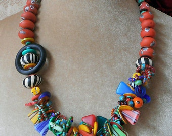 Calypso necklace, art to wear, one of a kind,  asymmetrical woven glass vintage Afro Czech beads