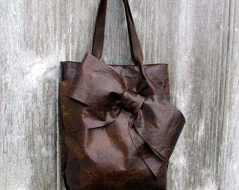 Leather Bow Bag - Tote Bag in Dark Chocolate Old World Leather Rustic Distressed Gift Handbag Handmade  by Stacy Leigh