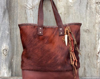 Leather Top Handle Bag in Copper Red - Hair On Cowhide - Oxblood - Alligator Embossed - Rustic - Tote Bag - Brindle Fur by Stacy  Leigh