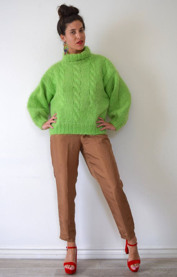 SUMMER SALE/ 30% off Vintage 80s 90s Slime Green Mohair Cable Knit Turtleneck Oversized Sweater