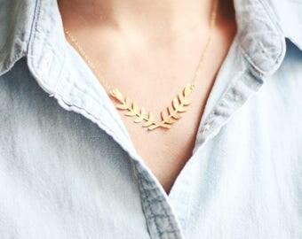 Laurel Wreath Necklace | Gold Laurel Necklace | Gold Branch Necklace | Silver Laurel Wreath Necklace | Bridesmaid Necklace | Silver Branch