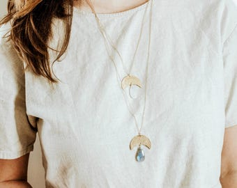Crescent Moon Moonstone Pendant Necklace | Brass Moonstone | Long Necklace | Moon Stone Necklace | Gold Moonstone | Silver Moonstone