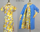60s Blue Linen Swing Coat & Shift Dress S M Vintage Roberta Lee Set