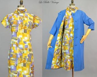 60s Blue Linen Swing Coat & Shift Dress S M Vintage Roberta Lee Set
