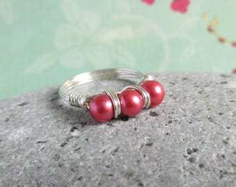 Red Pearl Ring, Sterling Silver Wrie Wrapped, Freshwater Pearl Jewelry, Custom Size