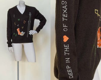 SALE /// Vintage Texas Novelty Sweater --- 1970s Black Sweater