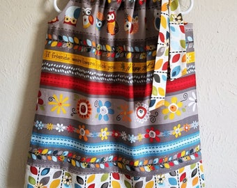 Girls Dresses Pillowcase Dress with Owls Fall Dresses Autumn Dresses Fall Clothes Adornit Grey Dress with Flowers and Leaves Fall Leaves