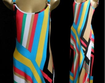 ON SALE Vintage 90s Maxi Dress, 1990s Color Block Striped Body Con Jersey Dress by Cache, Size XS to S, Extra Small to Small