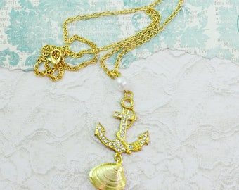 Sea Treasure- Gold Gem studded Anchor Pendant and Gold Clam Necklace