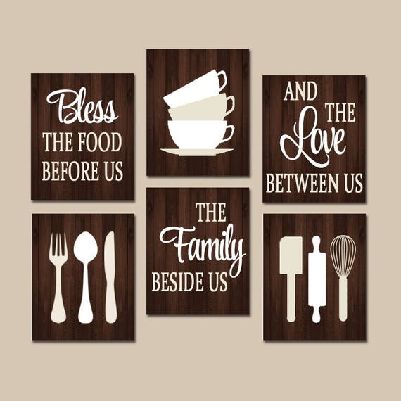 KITCHEN Quote Wall Art Kitchen CANVAS Or Prints Bless Food