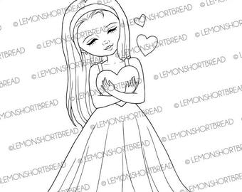 Digital Stamp Hugs of Love, Digi Download, Hearts Girl, Clip Art, Valentine's Day, Thinking of You, Coloring Page, Scrapbooking Supplies