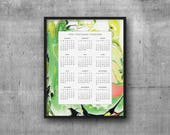 SALE! 2018 Calendar Marble Green, Chartreuse Coral ~ 8x10