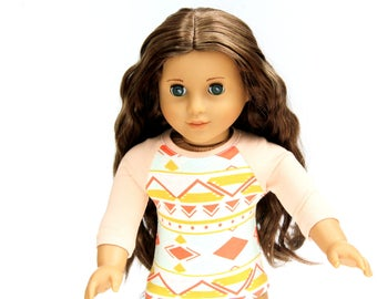 Fits like American Girl Doll Clothes - The Baseball Raglan Tee in Aztec and Blush | 18 Inch Doll Clothes