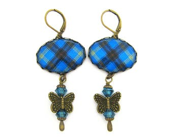 Scottish Tartan Jewelry - Ancient Romance Series - Bell Clan Tartan Filigree Butterfly Earrings with Light Sapphire Swarovski Crystals