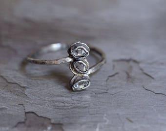 Herkimer Diamond Ring - Herkimer Bezel Ring - Oxidized Sterling Silver Ring - Raw Quartz Ring - Herkimer Quartz Ring - Simple Statement Ring