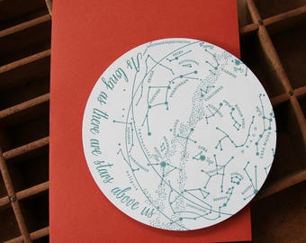 letterpress constellations die cut card