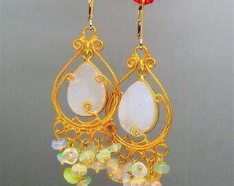 White Druzy Ethiopian Opal Gemstone Chandelier Earrings in Vermeil Sterling Silver
