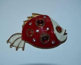 Vintage Fish Brooch, Red & White Fish, Koi Fish, Piranha, Red Eye Fish, Nautical Pin