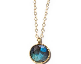 Stone of Magic Necklace | 10mm Labradorite Necklace | Bronze, Gold-fill and Labradorite Stone Necklace