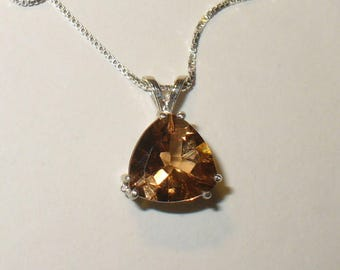 Topaz Pendant  - Lovely Burnt Orange Genuine Gemstone in Sterling Silver