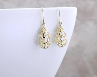 14k Solid Gold Filigree Earrings Dainty Gold Teardrop Earrings Solid Gold Dangle Earrings Gold Abstract Earrings Solid Gold Drop Earrings