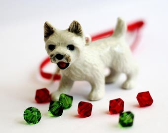 Westie Christmas Ornament, West Highland Terrier Dog, Puppy Ornament, Handmade Tree Ornament,  Animal Pet Ornament Hendywood