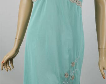 Vintage 1950s Slip - Nightgown Teal Embroidered Lace and Chiffon by Gotham Sz 38