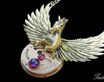 Steampunk Necklace, Dragons Breath Necklace, Pegasus Jewelry, Victorian Inspired, Opal Glass Pendant