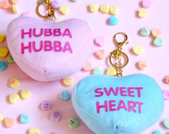Conversation Heart Keychain, Candy Heart Bag Charm, Pastel Pink Plush Heart, Be Mine, Valentine's Day, Cross Body, Kawaii, Lolita