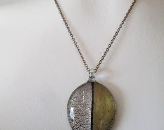 Artisan gold and silver leaf lampwork Leaf pendant necklace