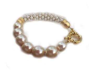 Handmade Pearl Bracelet, Creamy Glass Pearl Bracelet, Gold Rope Trim
