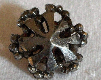 ANTIQUE Small Cut Steel Snowflake Metal BUTTON