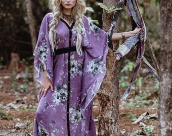 New! ORACLE GYPSY DRESS - Bohemian Hippie Maxi Elegant Prom Wedding Burning man Maternity Plus size Ethnic Geometric - Purple Black Flower