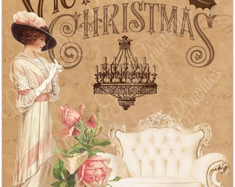Victorian Christmas Vintage lady pink roses Large digital download ECS buy 3 get one free SVFteam