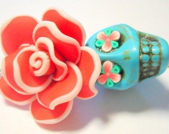 Turquoise and Red Sugar Skull and Rose Day of the Dead Large Pendant or Ornament