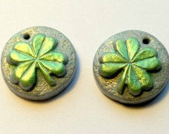 Luck of the Irish Four Leaf Clovers - Handmade Polymer Clay Focal Beads