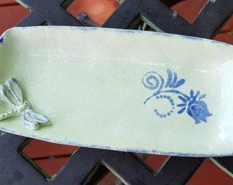 Handmade Ceramic Soapdish, Ceramic Dragonfly Snack Tray, Dragonfly and Flower Sushi Dish, Jewelry Tray