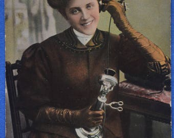 Comic Receiver in Hand Worth Two Letters Post Cupid's Telephone Tuck 1910 Antique Postcard