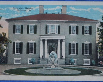 Governor's Mansion Richmond Virginia White Border Postcard Unused