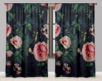 Rose Window Curtains, Big Pink Roses and Dark Green Blue Watercolour Drapes, Garden Flower Graphic Print Window Curtains