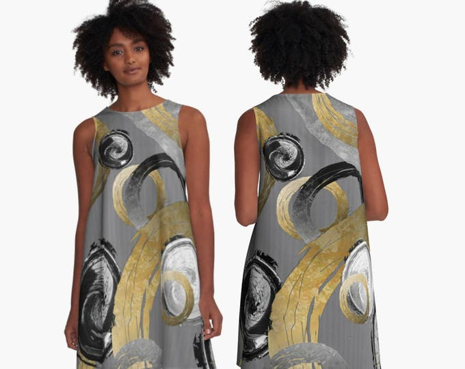 Flowy A-Line Dress in Modern Abstract Big Gold Look Colour Rings and Black White Circles on Grey Stripe Pattern