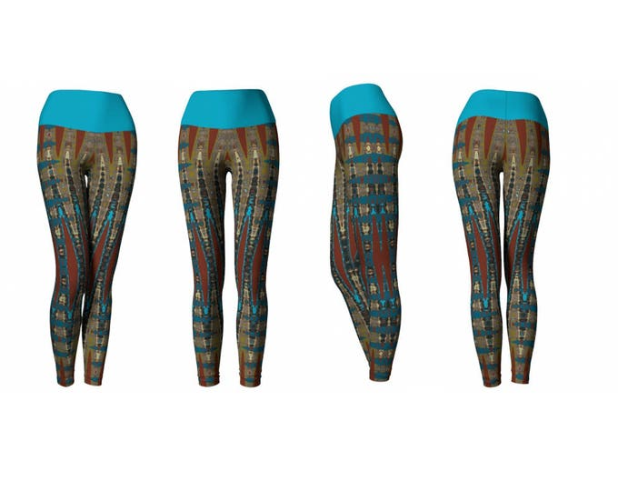 Full Length Yoga Leggings Millefiori Mosaic Tile Pattern Turquoise Band, South Western Colour Abstract Stretchy High Quality Workout Wear