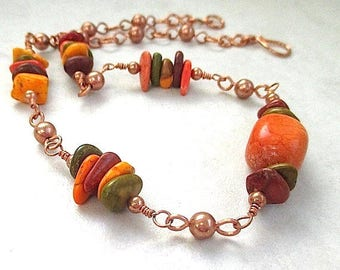 Autumn Boho Necklace, Multicolor Gemstones, Fall Colors, Earthy Orange, Olive Green, Brown, Copper Beaded Chain, Adjustable Choker N203