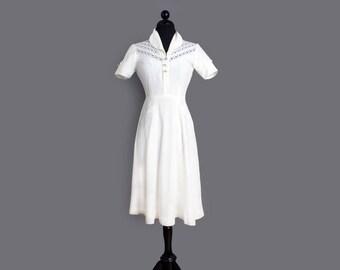 1940's White Swing Era Day Dress or Wedding Dress  - MED