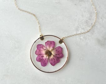 Pink Pressed Rose Necklace, Pressed Flower Necklace, Botanical Jewelry, 14k Gold Fill Chain